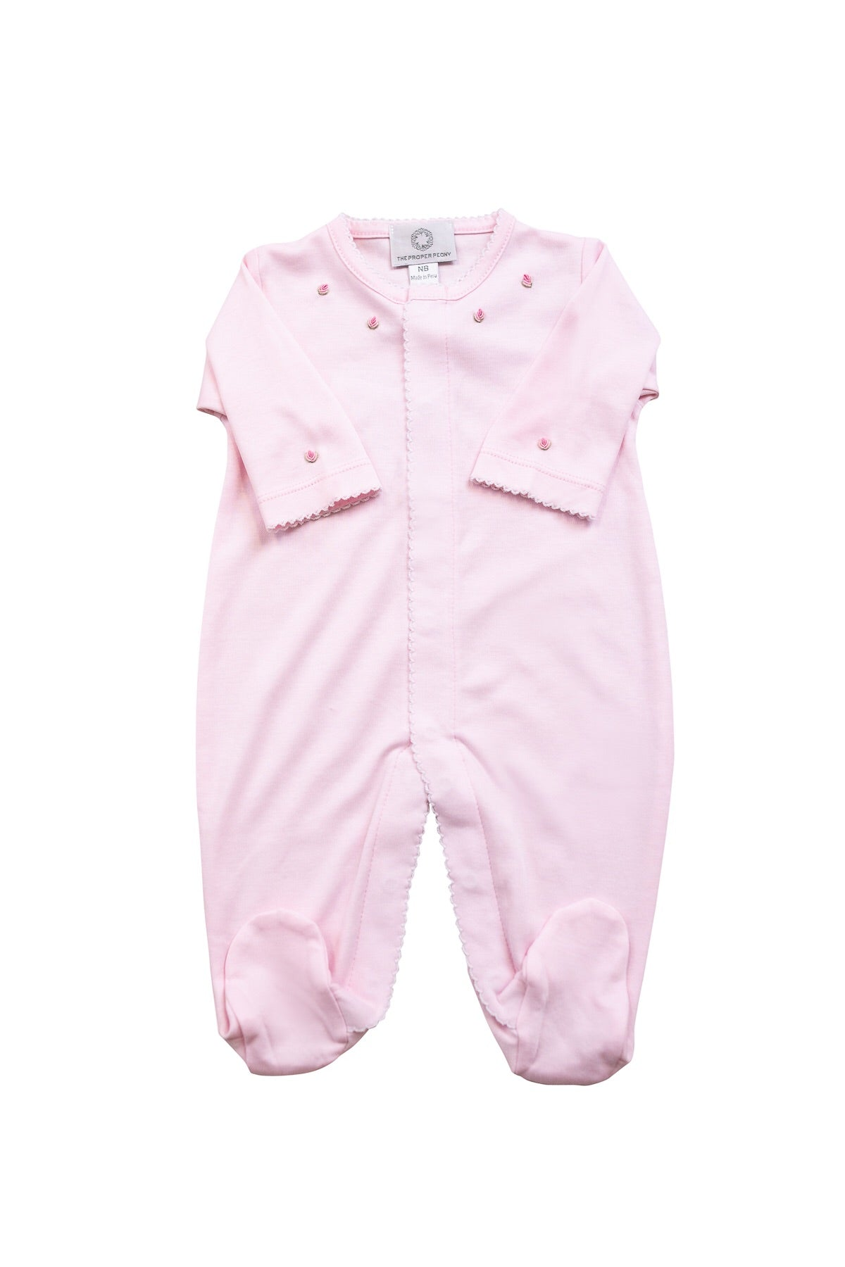 The Proper Peony Pima cotton pink footie