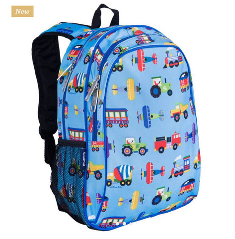 Trains planes and trucks backpack 15""