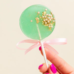 Sea Foam Green & Pink Lollipop, Pear