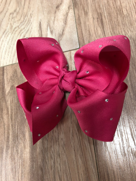 "Beyond Creations 5.5"" xl bow on gator clip with rhinestones"