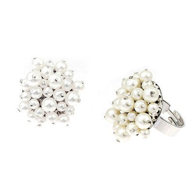 Inel bijuterie cod 7029  big pietre swarovski white and perle crems