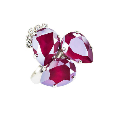 Inel cu cristale  Swarovski royal Dark Red