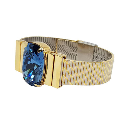 Bratara Midnight Blue & Curea Metal Diagonal Gold Men