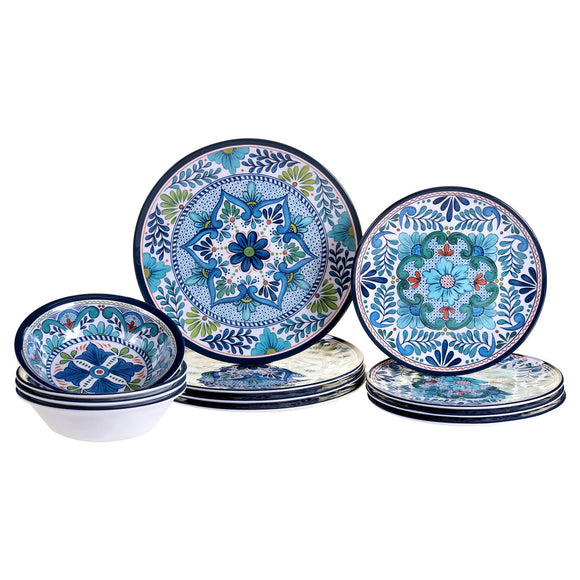 Coming soon! メラニンディナー食器セットTarget Talavera by Nancy Green Melamine 12pc Dinnerware Set Blue