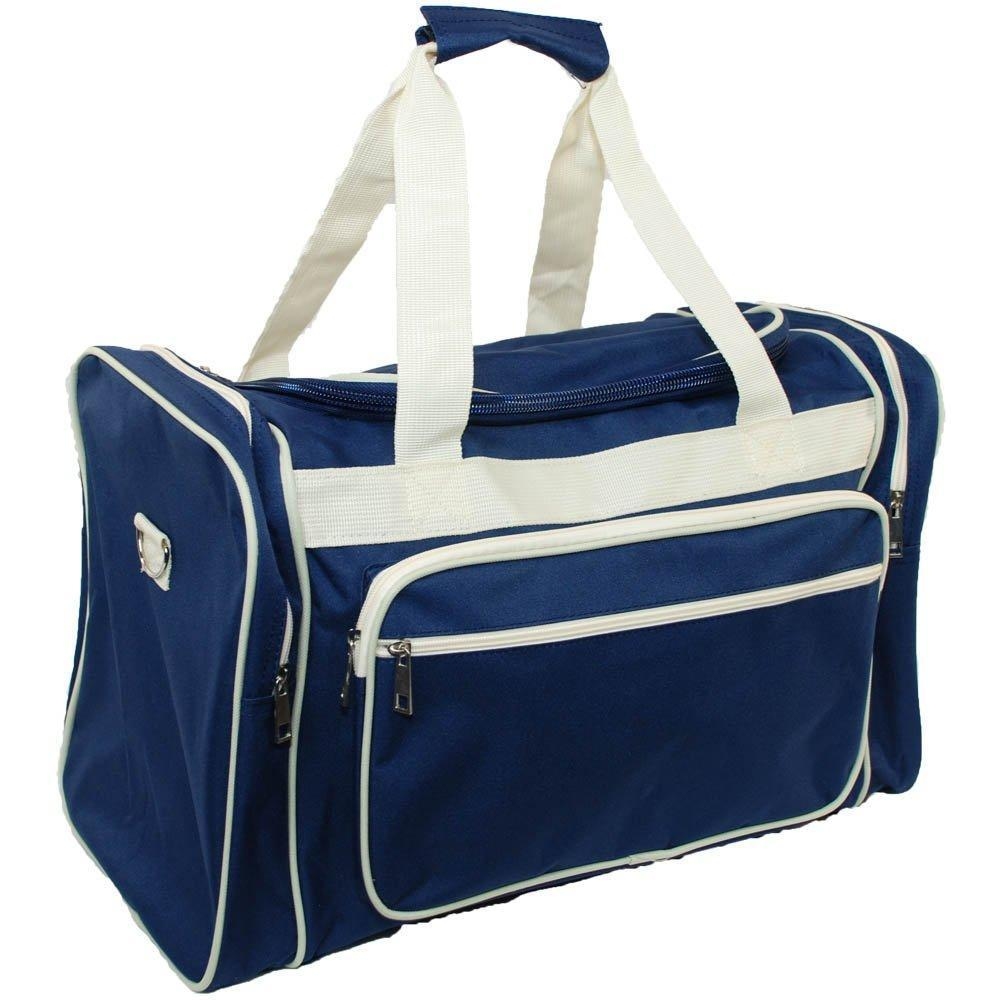 15e55a306eb636 Mens Large Duffle Bag Navy Blue Duffle Bag With Beige Trim – Ana Claires