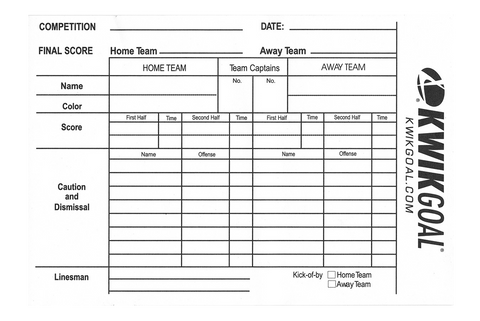 Kwik Goal Referee Score Sheet