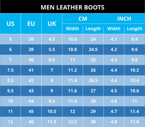 Size Chart Men Leather Boots