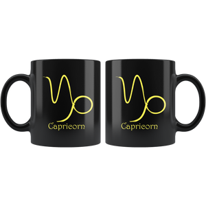 Zodiac Capricorn Sign Ceramic Black  Coffee Mug