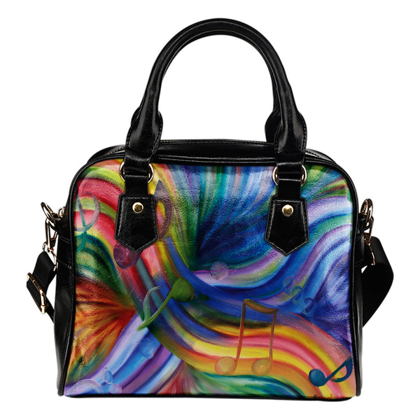 Shoulder Handbag- Colorful Rainbow -Music Notes