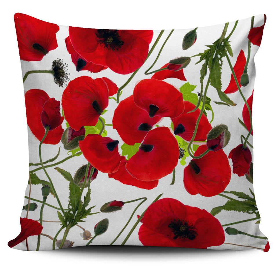 Pillow Cover Poppies White