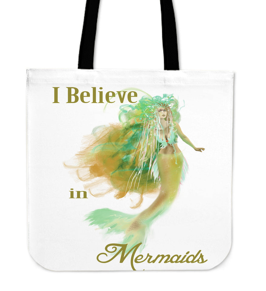 mermaid tote bag white