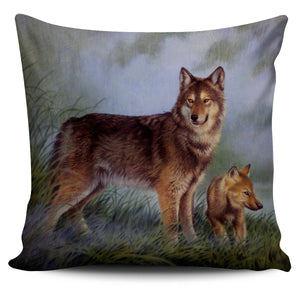 pillow cover howling wolf  mother and child