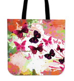 butterfly linen tote bag