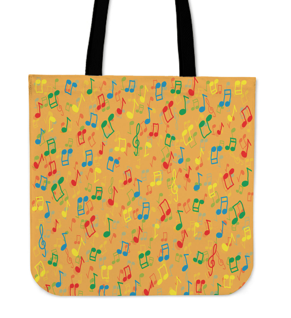 Colored Music Note Tote Bag