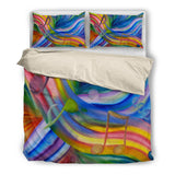 Bedding : Colorful Rainbow & Music Notes beige