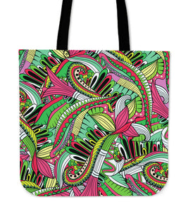 Funky Patterns in Greens - Cloth Tote Bag