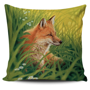 Fox Pillow Cover Summer Green