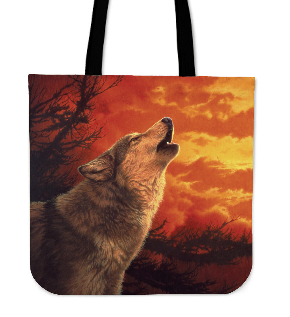 Linen tote bag Wolf Evening Glow