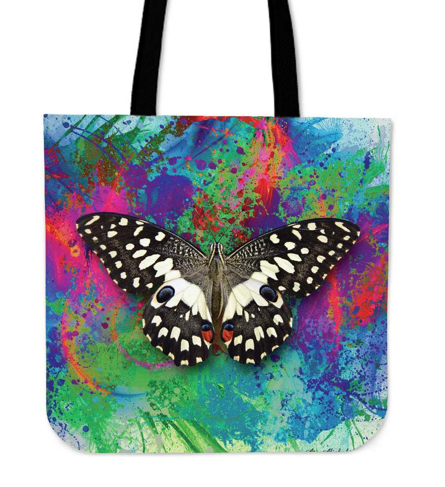 butterfly linen tote bag colorful