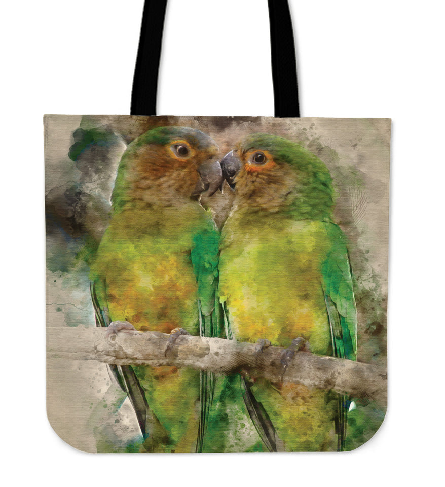 Linen tote bag brown-throated parakeet