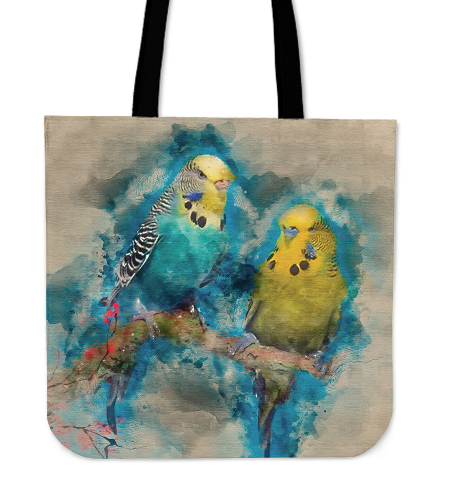 Linen tote bag Budgies