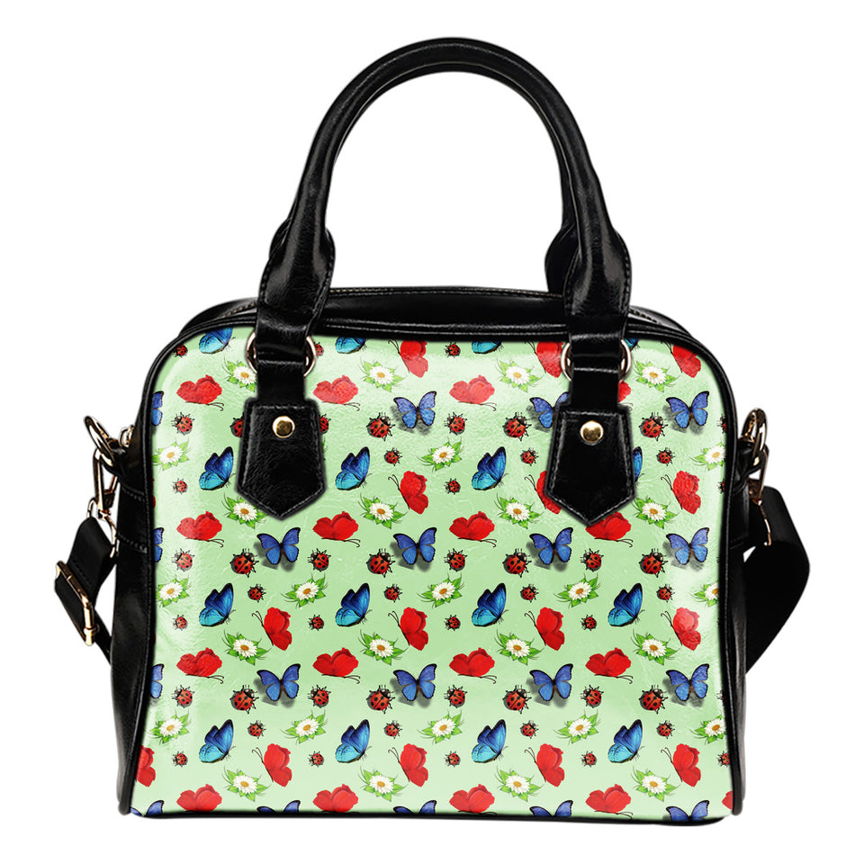 Butterfly Garden Leather Shoulder Bag