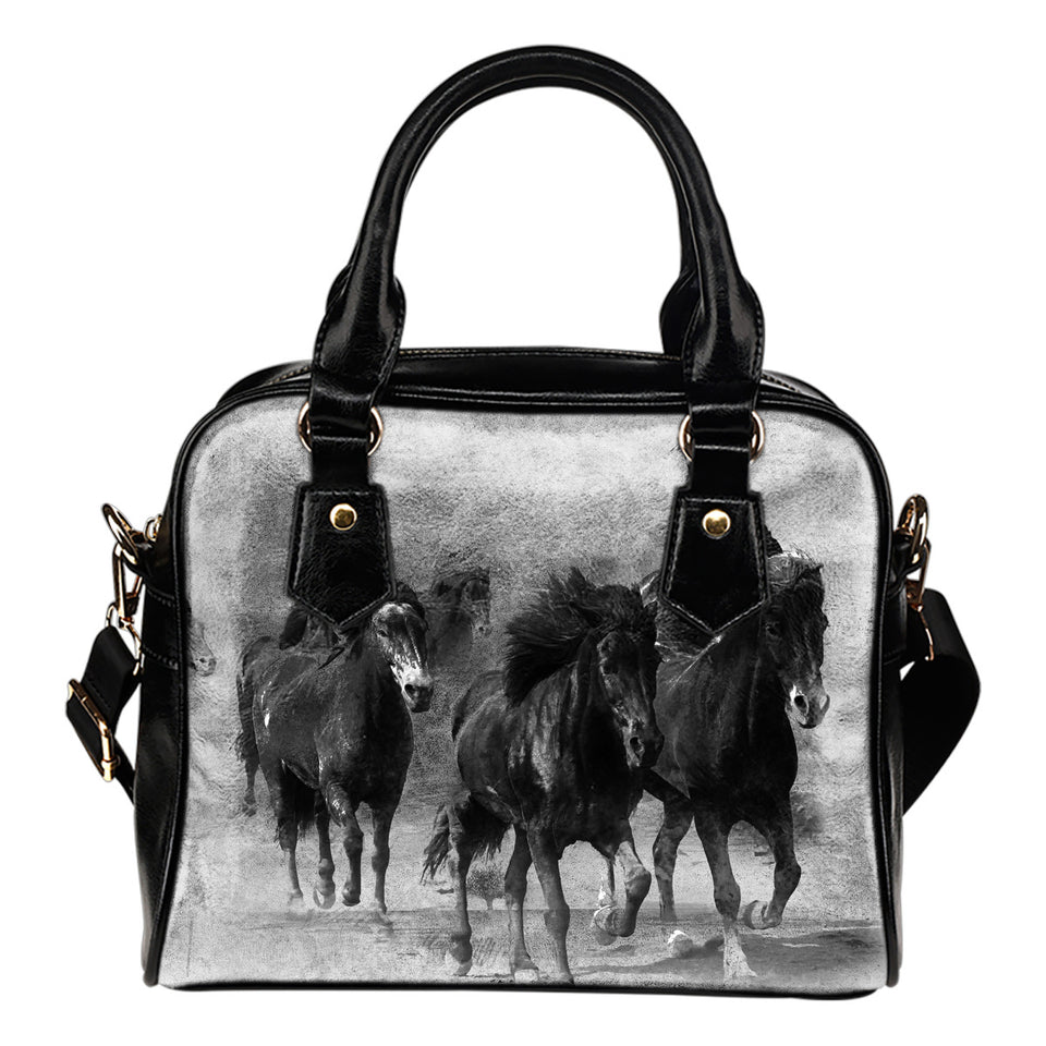 shoulder handbag horses black and white algarve online shop