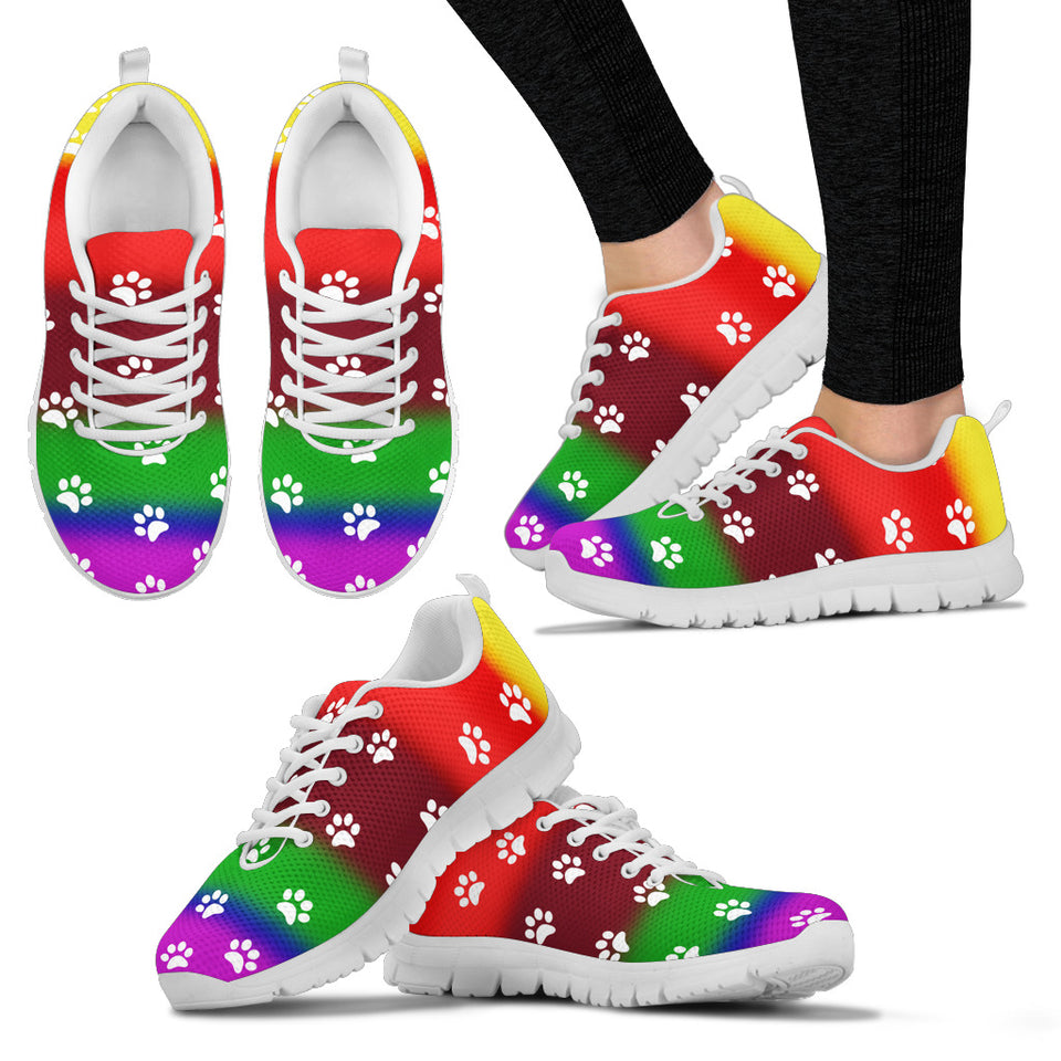 Women's Paw Prints Painted Sneakers
