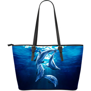 Leather tote bag Dolphins