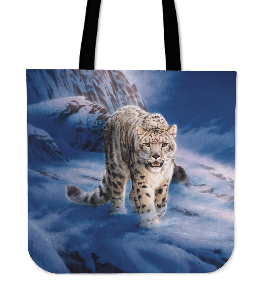 reusable shopper bag snow leopard