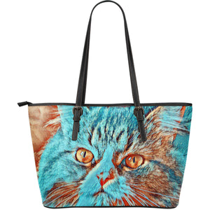 leather tote  bag with blue cat buy online ships worlwide algarve online shop