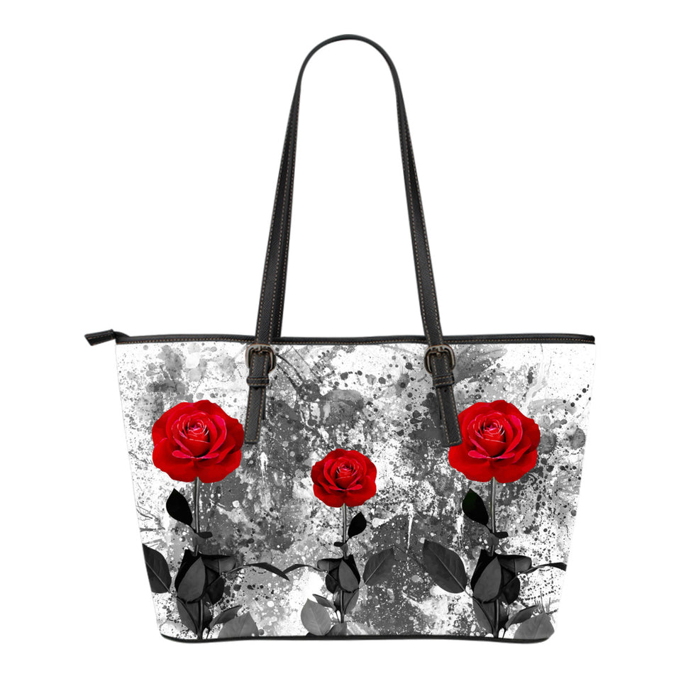 Leather Tote Bag - Red Roses
