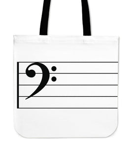 Tote Bag Music Note Bass Clef big white
