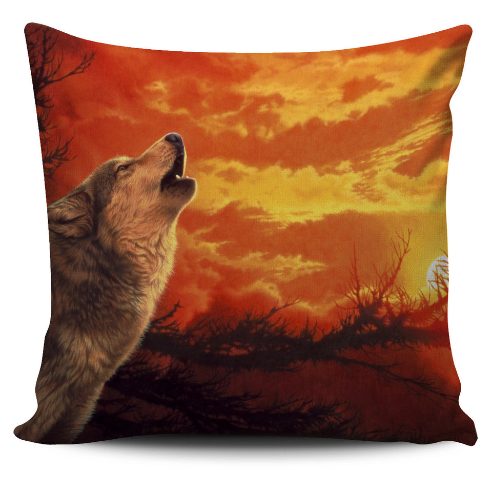 pillow cover howling wolf orange