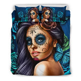 Bedding Set Calavera (Turquoise on Beige)