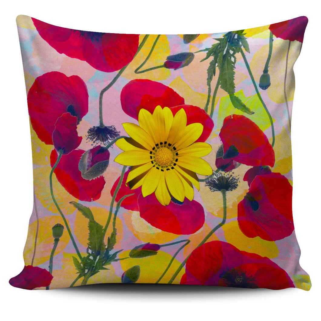 Pillow Cover Poppies - Yellow Flower