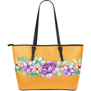 leather tote bag orange
