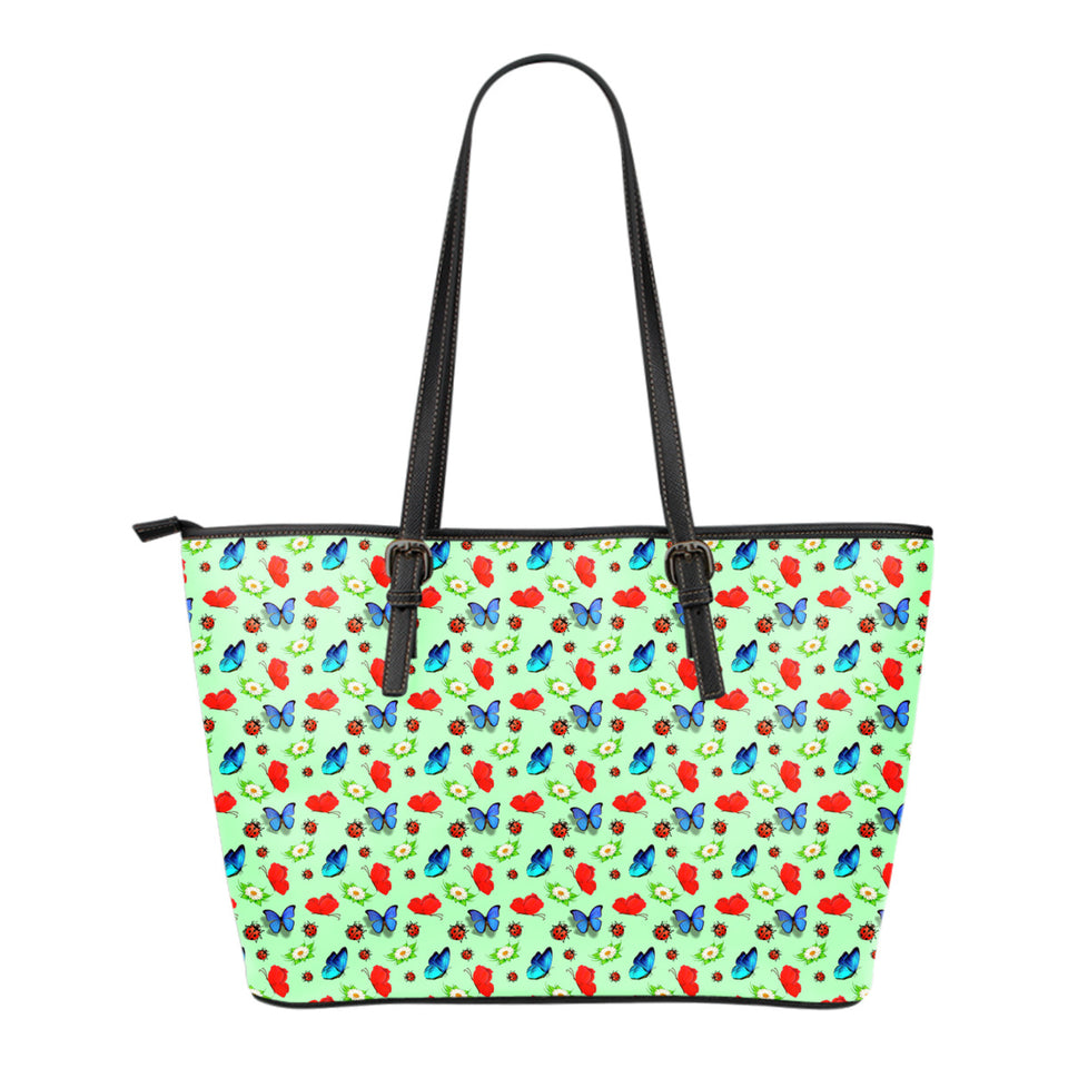 Butterfly Garden Small Leather Tote Bag