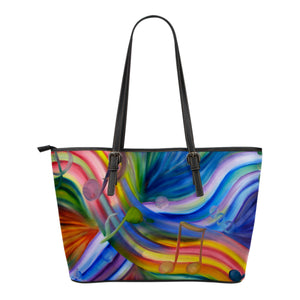 Leather Tote Bag : Colorful Rainbow  & Music Notes