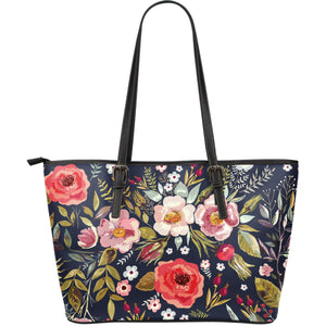 Large Floral Leather Tot Bag  - Vintage Water Color Flowers