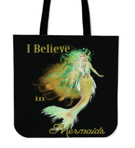 mermaid tote bag black