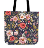 Linen Tote Bag Vintage Flowers