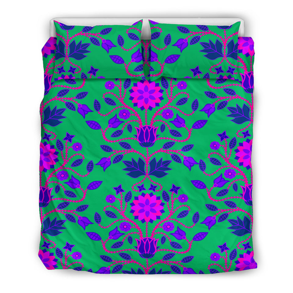 Floral Beadwork Four Clans Teal Bedding Set