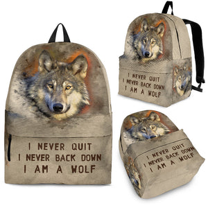 backpack with wolf print