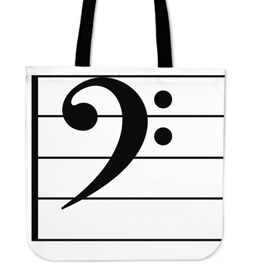 Tote Bag Music Note Bass Clef white