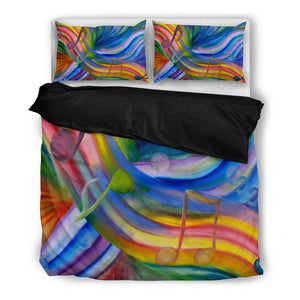 Bedding : Colorful Rainbow & Music Notes black