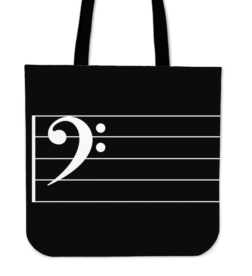 Tote Bag Music Note Bass Clef black