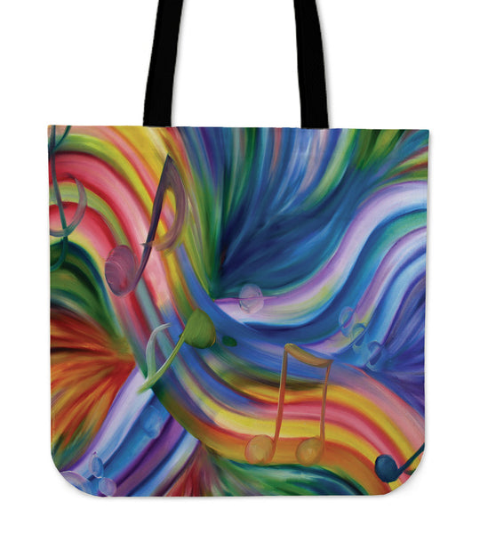 Tote Bag : Colorful Rainbow & Music Notes