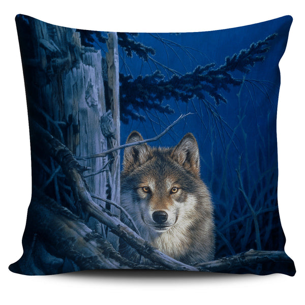 pillow cover howling wolf  blue johNaito