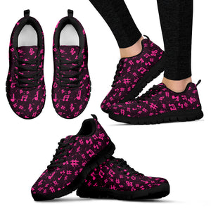Pink Music Notes Women's Sneakers
